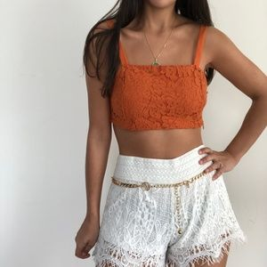 NWT Zara Orange Lace Bra Boho Crop Top M